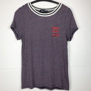 Red White Blue Patriotic 4th July Striped Tee Top